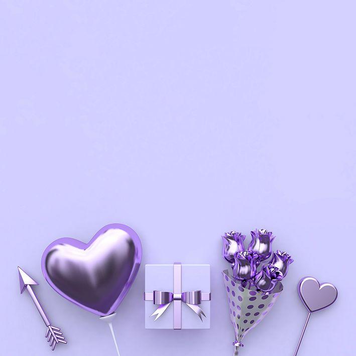 baskılı fon perde mor lila renkli çiçek buketi ve kalpli desenli
