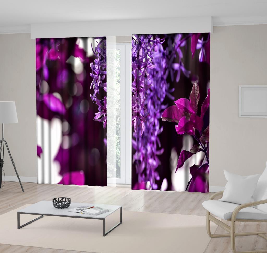baskılı fon perde mor lila sümbül çiçekler desenli