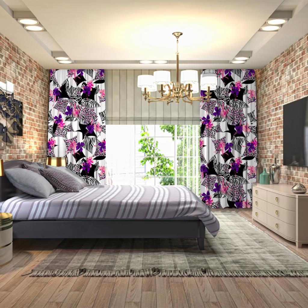 baskılı fon perde mor pembe çiçekli leopar zebra desenli