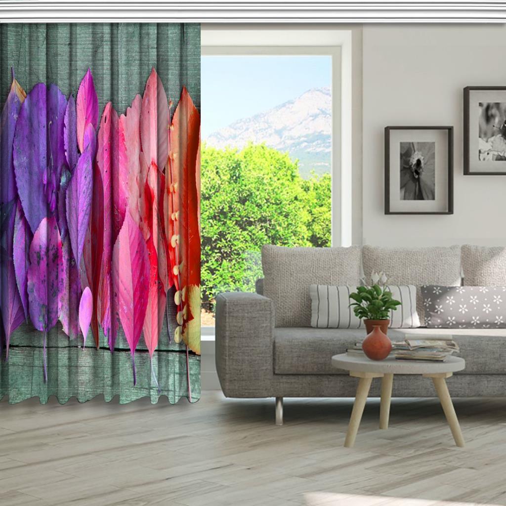 baskılı fon perde mor, pembe,turuncu renk etkili yaprak desenli