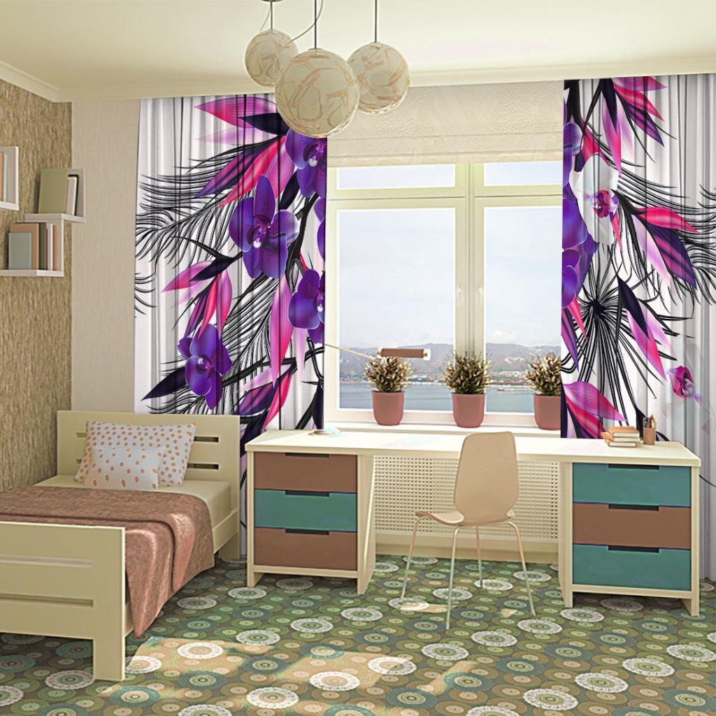 baskılı fon perde mor pembe yapraklı orkide buket desenli