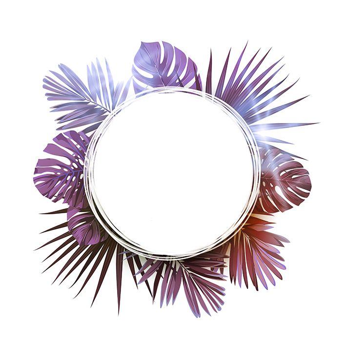 baskılı fon perde mor renk yuvarlak ve palmiye yaprak etkili desenli