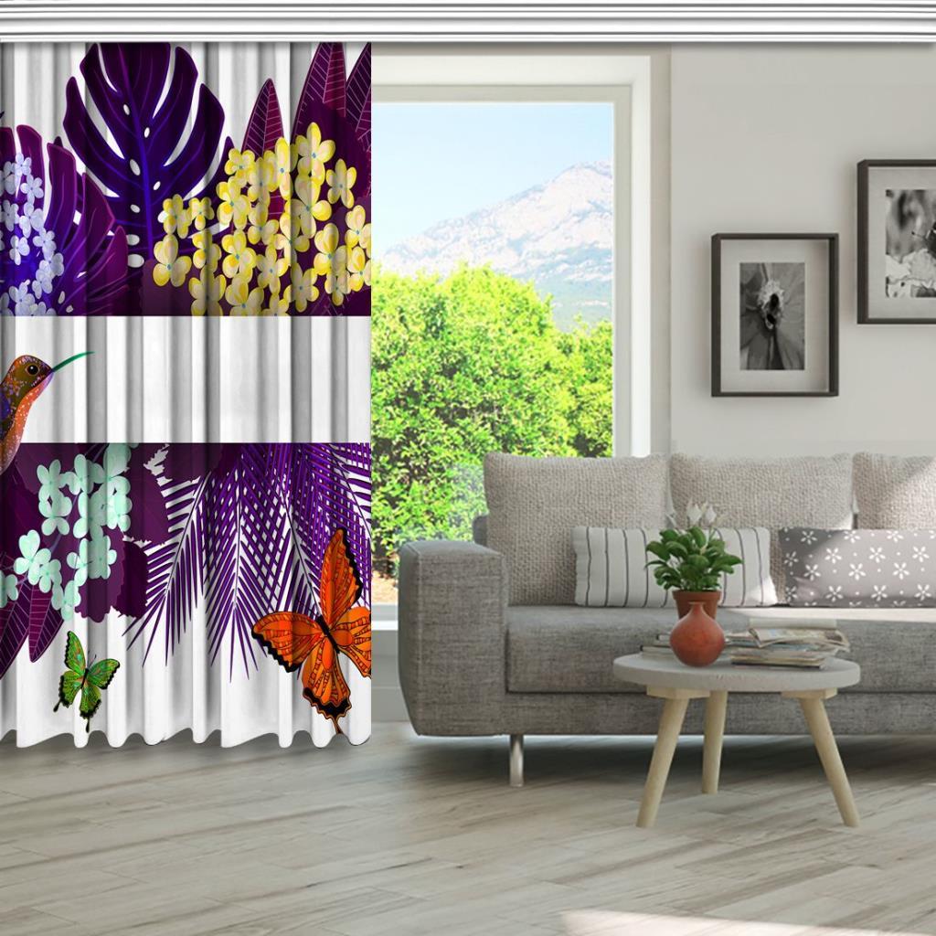 baskılı fon perde mor tropik yaprak üzerine oranj kuş kelebek desenli