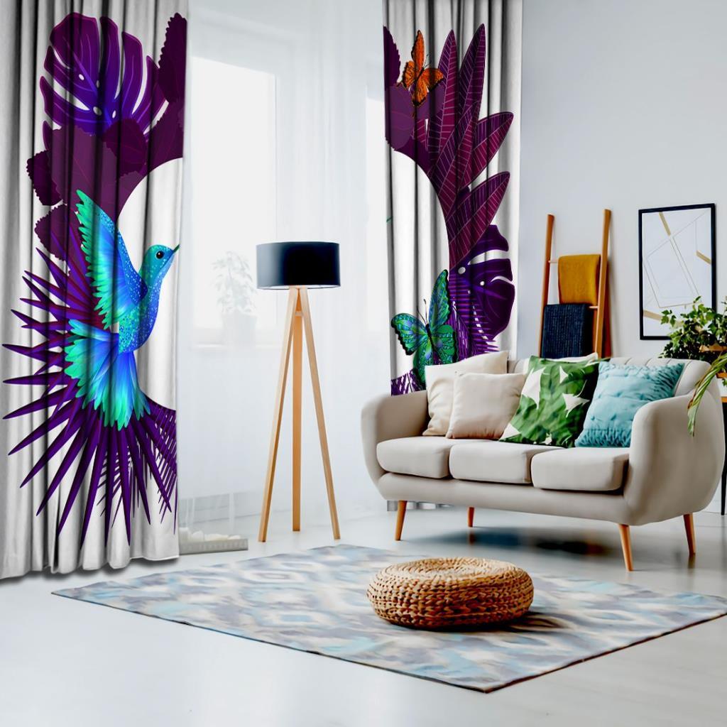 baskılı fon perde mor tropik yapraklı kelebek güvercin desenli