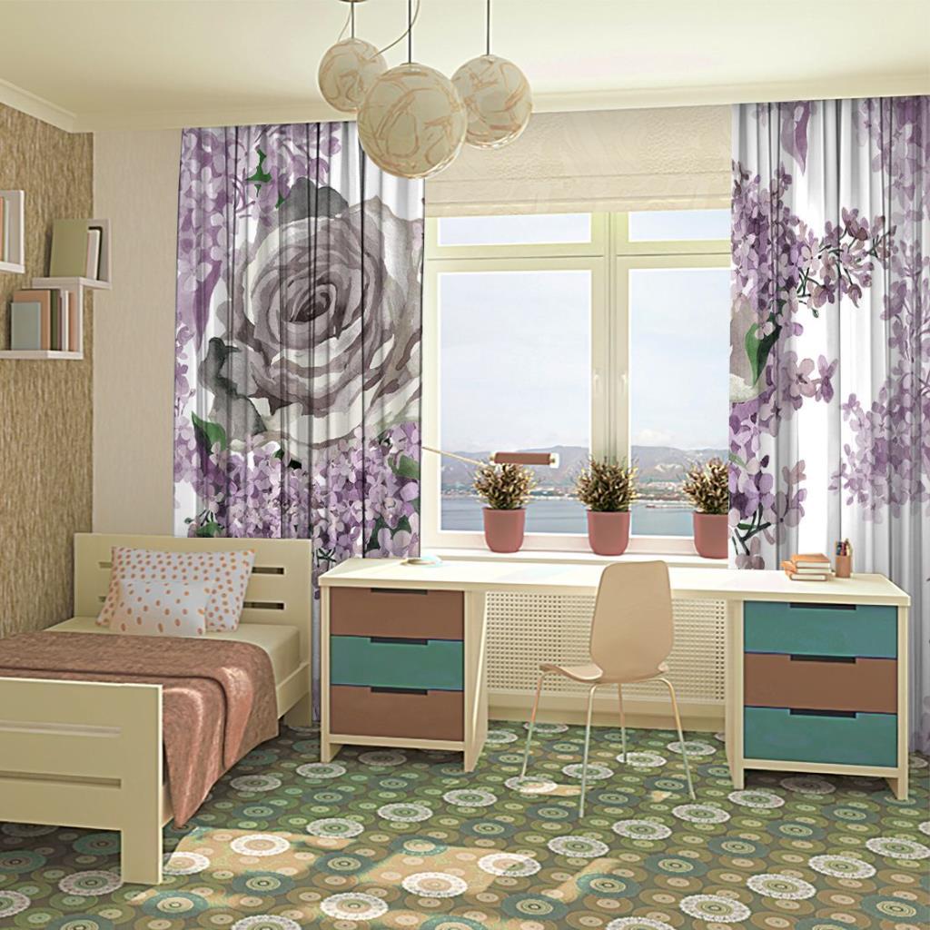 baskılı fon perde mor ve lila renk etkili gül ve yaprak desenli
