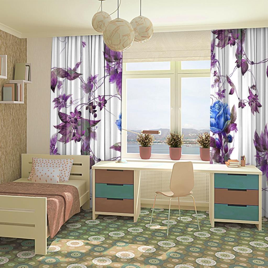 baskılı fon perde mor ve mavilerden saran çiçekler desenli