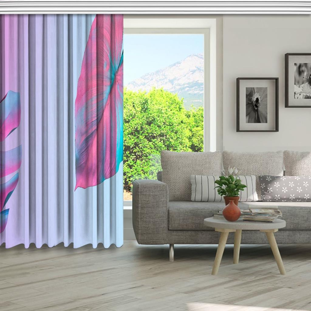 baskılı fon perde mor ve pembe tonları görünümünde palmiye desenli