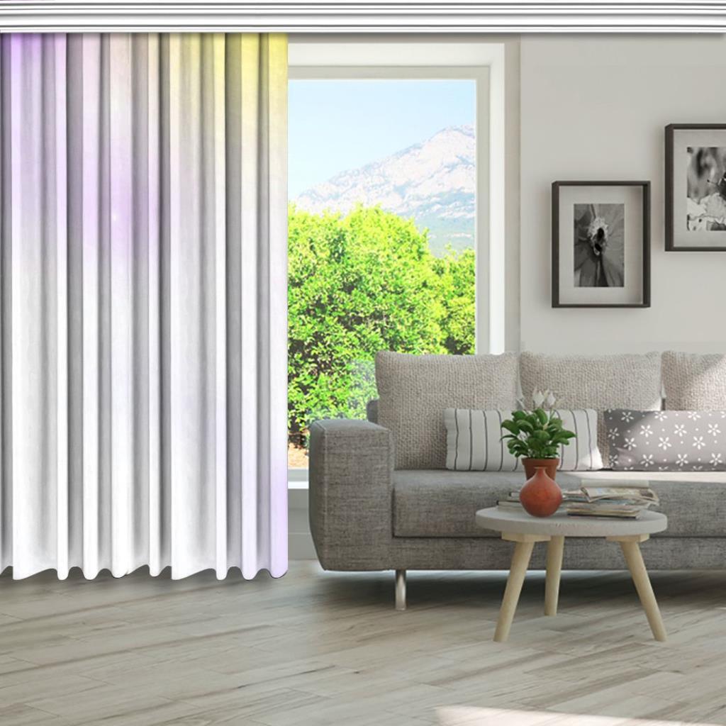 baskılı fon perde mor ve sarı renk etkili beyaz ışık desenli