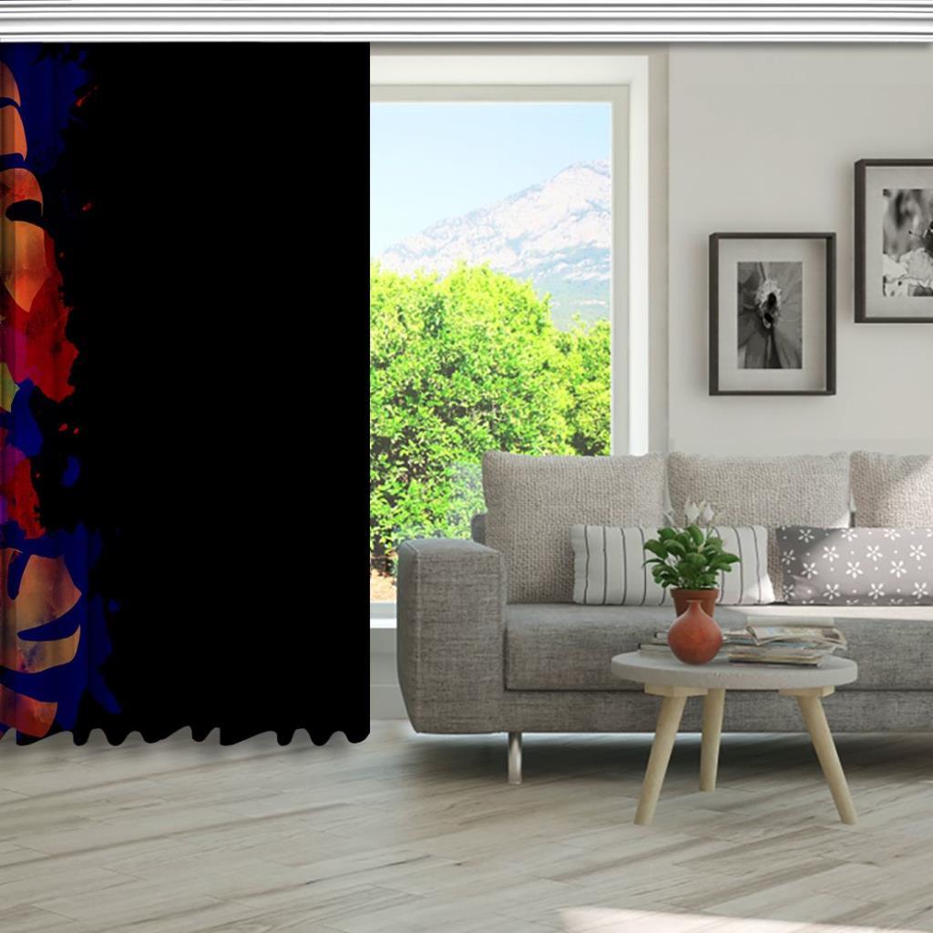 baskılı fon perde mor ve turuncu renk etkili yaprak desenli