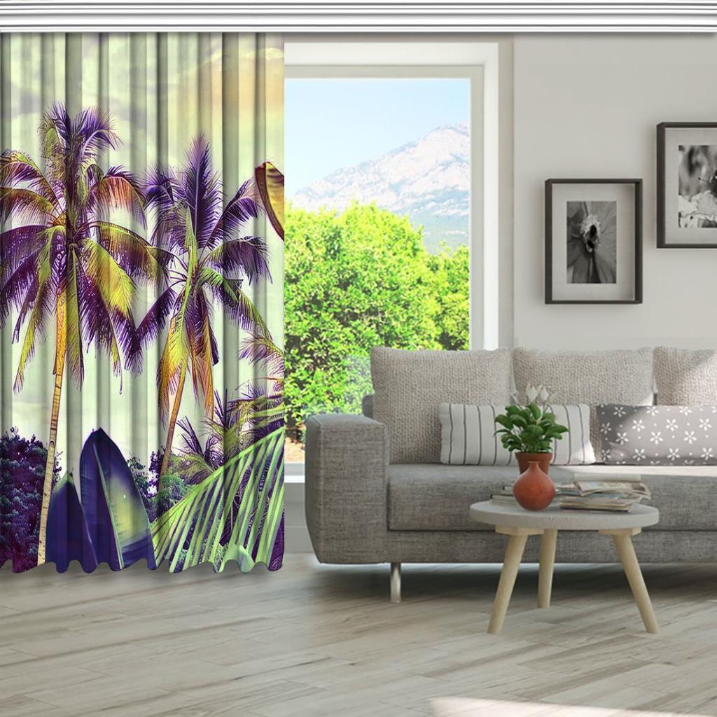 baskılı fon perde mor ve yeşil etkili palmiye ağacı desenli