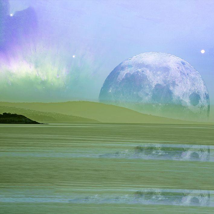 baskılı fon perde mor ve yeşil renk ağırlıklı ay desenli