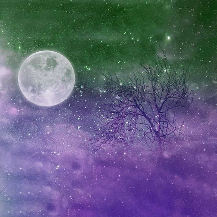 baskılı fon perde mor ve yeşil renk etkili ay ve ağaç desenli