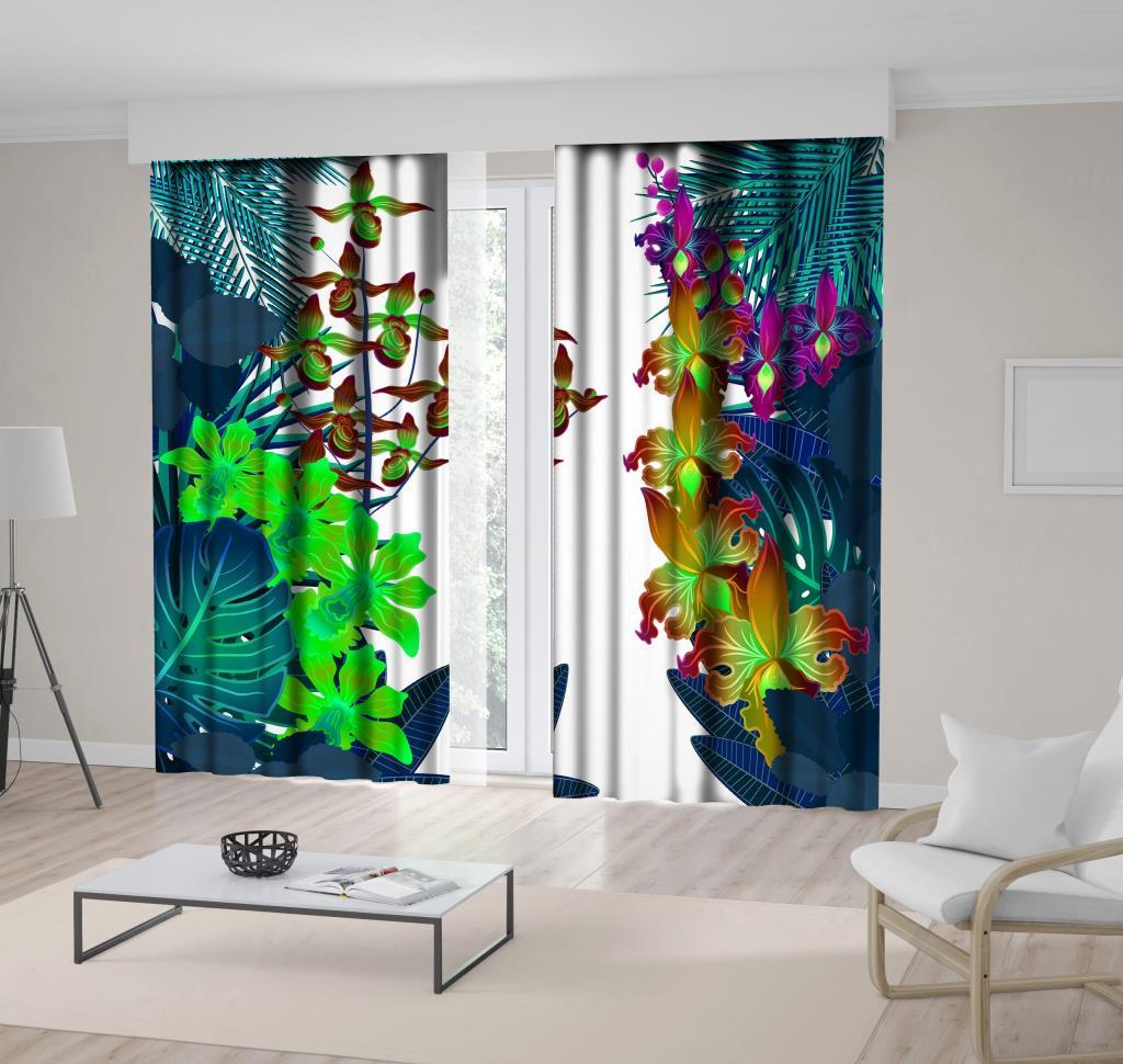 baskılı fon perde neon renklerde karşılıklı dallı tropik çiçekler desenli