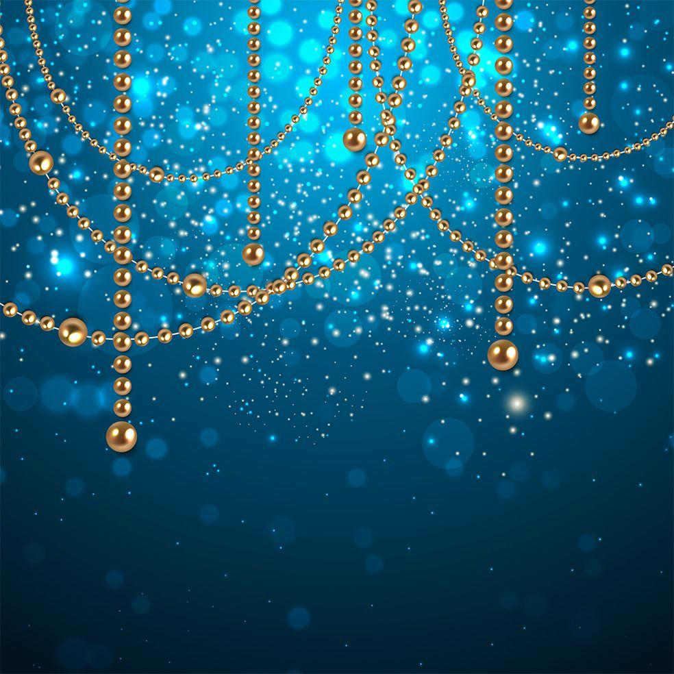 baskılı fon perde noel altın inci süsleri ile yılbaşı temalı mavi laci