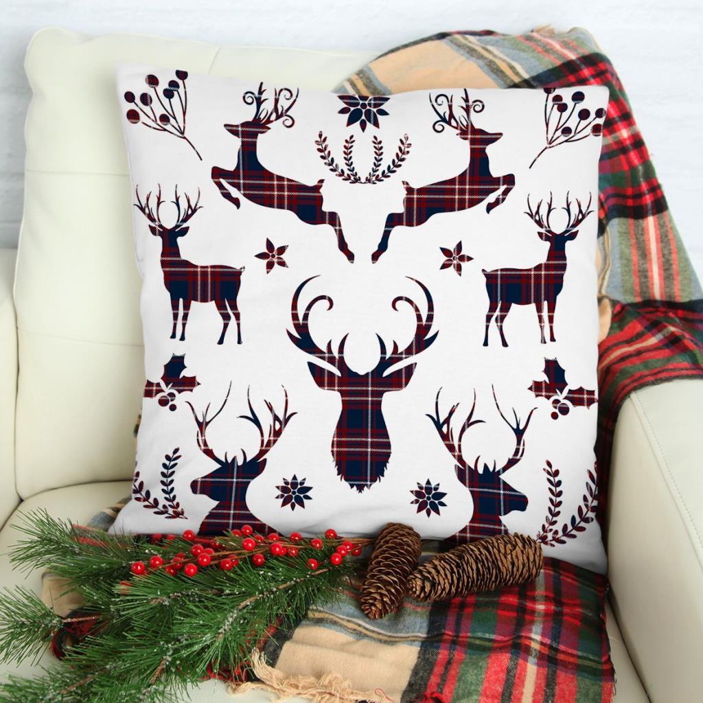 baskılı kırlent kılıfı noel beyaz üzerine laci kırmızı ekose geyik desen