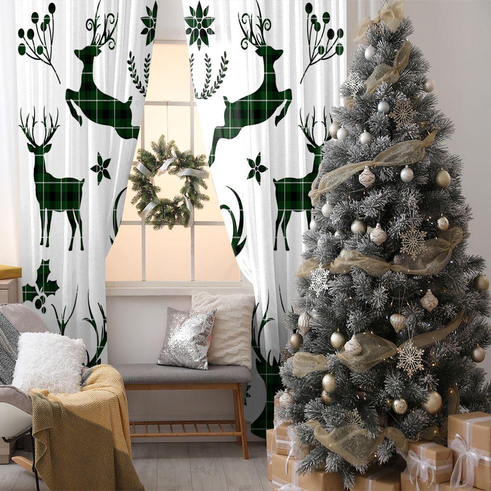 baskılı fon perde noel beyaz üzerine siyah yeşil ekose geyik desen