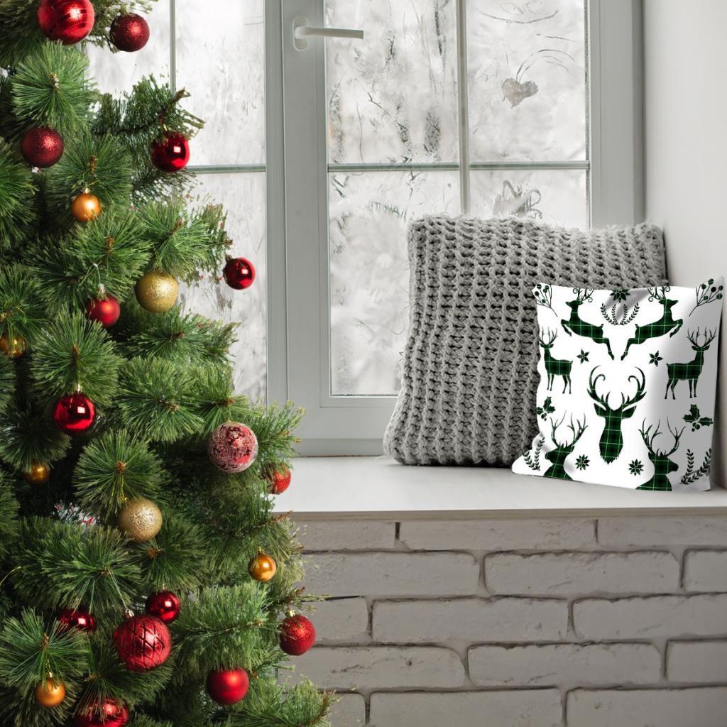 baskılı kırlent kılıfı noel beyaz üzerine siyah yeşil ekose geyik desen