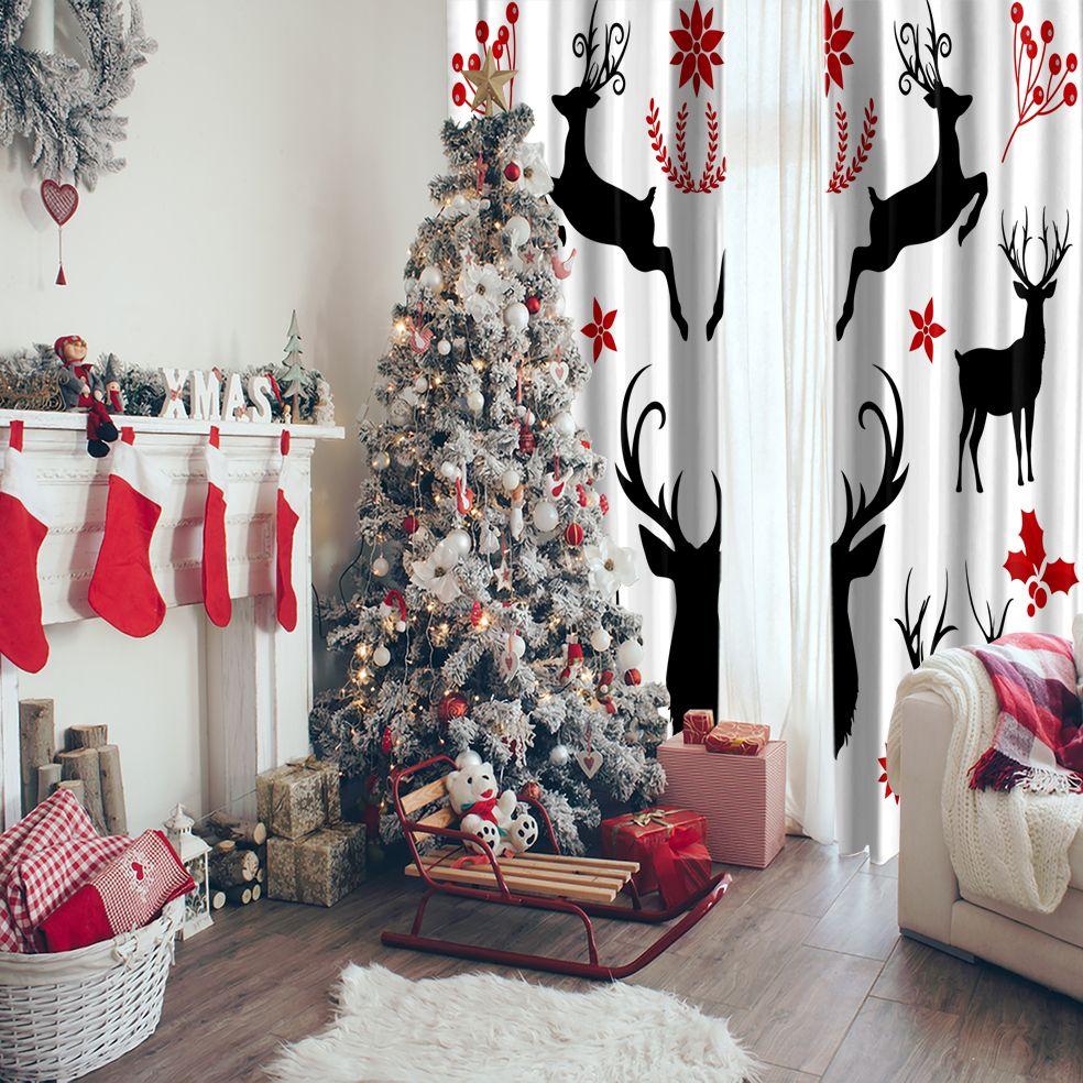 baskılı fon perde noel beyaz zeminli kırmızı siyah geyik desenli