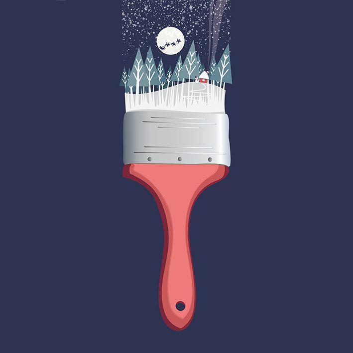 baskılı fon perde noel fırça kar tanesi desenli lacivert
