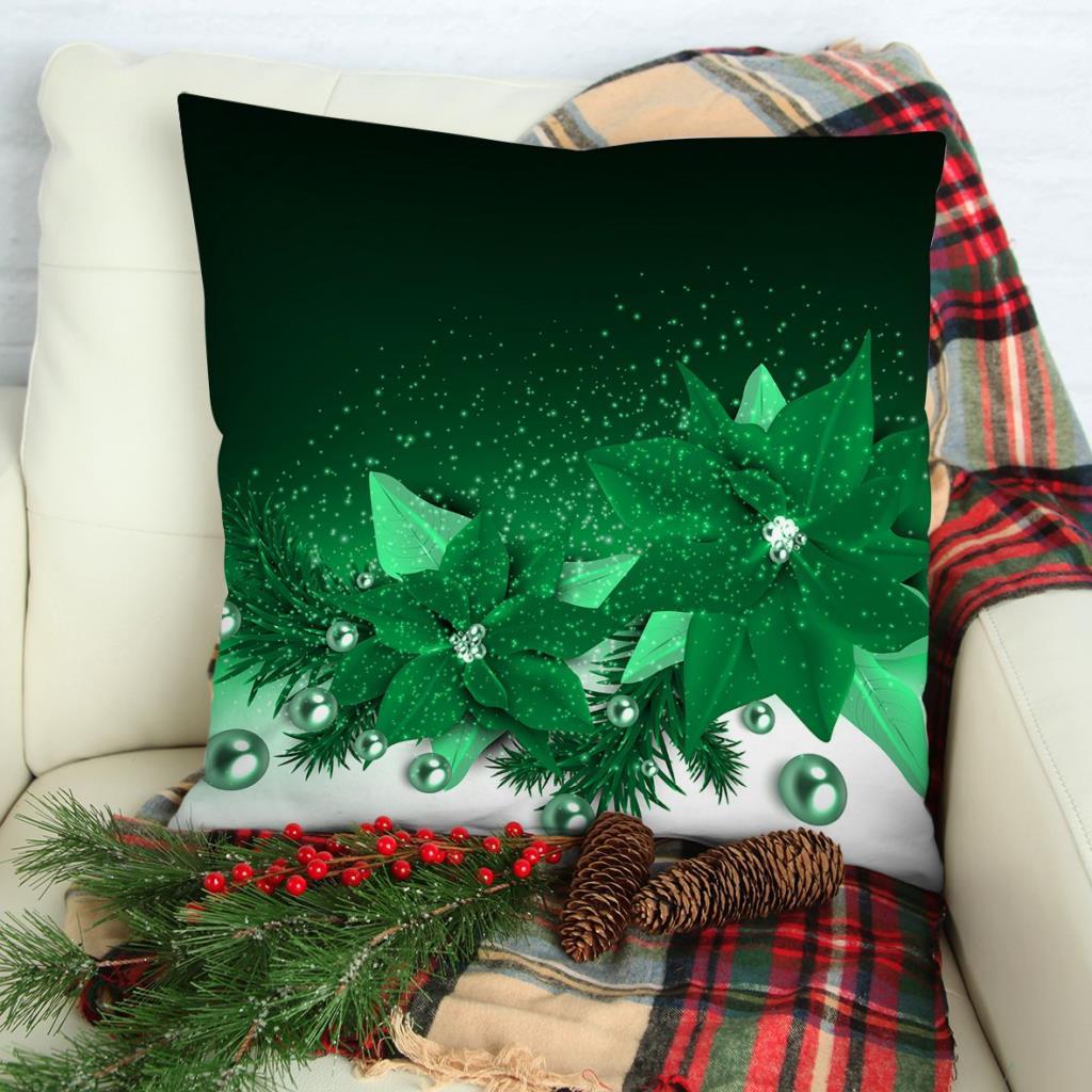 baskılı kırlent kılıfı noel inciler köknar dalları yılbaşı yeşil kartaneleri