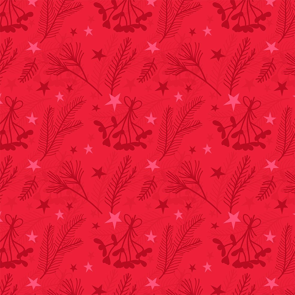 baskılı fon perde noel kırmızı nar çiçeği renkli ökse otu ile yıldızlar