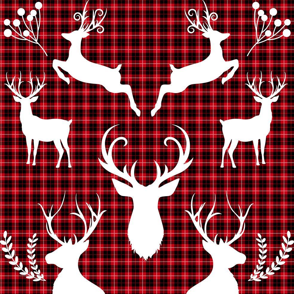 baskılı fon perde noel kırmızı siyah ekose üzerine geyik desenli