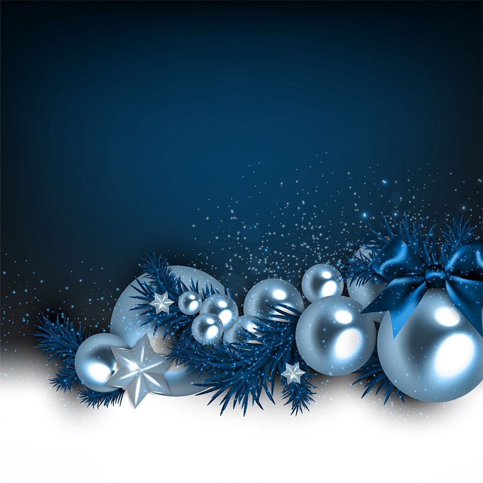baskılı fon perde noel topları yılbaşı süsleri çam dalları mavi laci