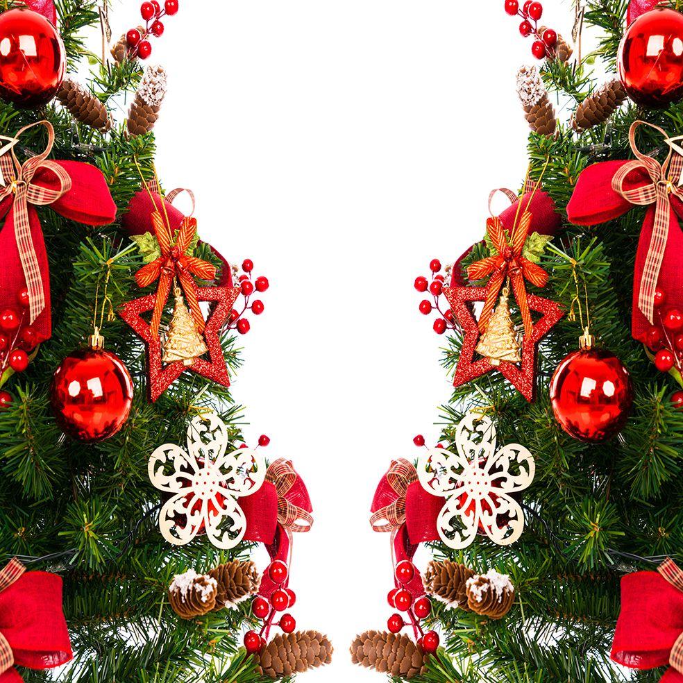 baskılı fon perde noel yılbaşı ağacı çam süsleri yıldız kırmızı yeşil
