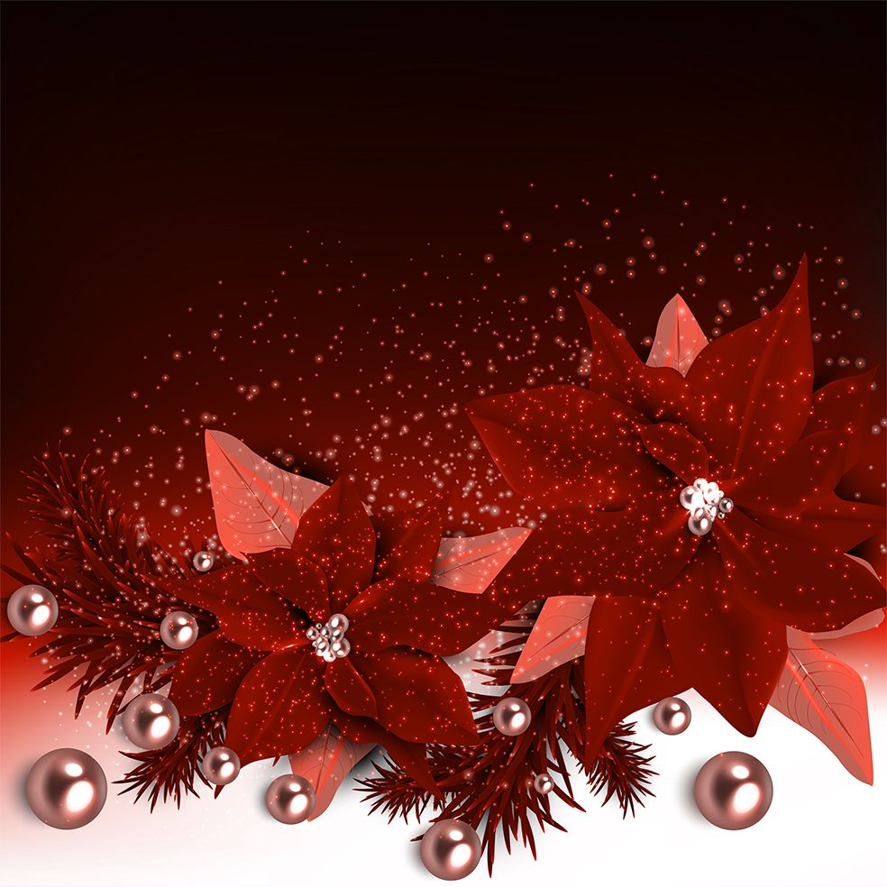 baskılı fon perde noel yılbaşı inciler çiçek ile kırmızı kar taneleri