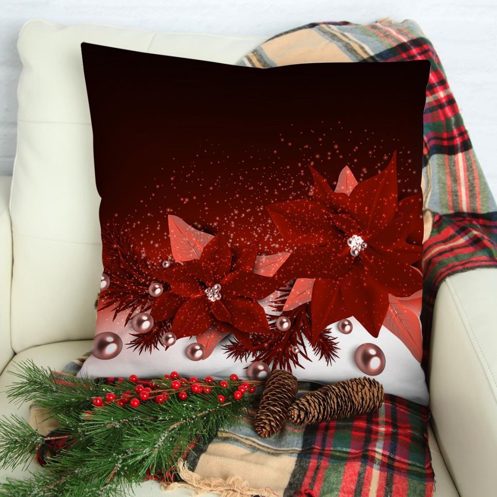 baskılı kırlent kılıfı noel yılbaşı inciler çiçek ile kırmızı kar taneleri