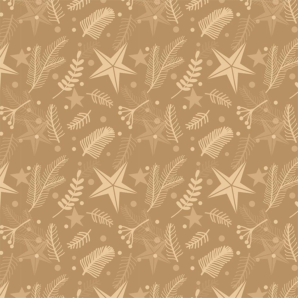 baskılı fon perde noel yılbaşı kamel rengi zemin yıldızlar ağaç dalları
