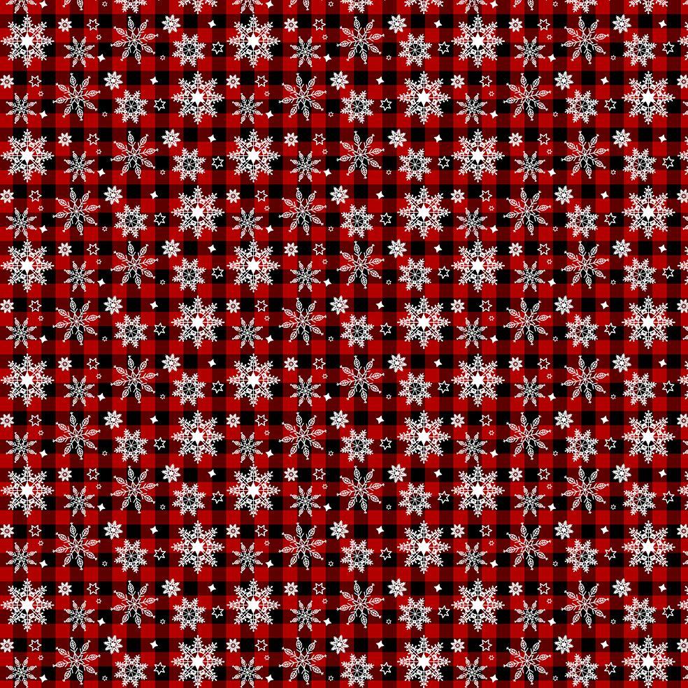 baskılı fon perde noel yılbaşı kırmızı siyah ekose desenli kar taneli
