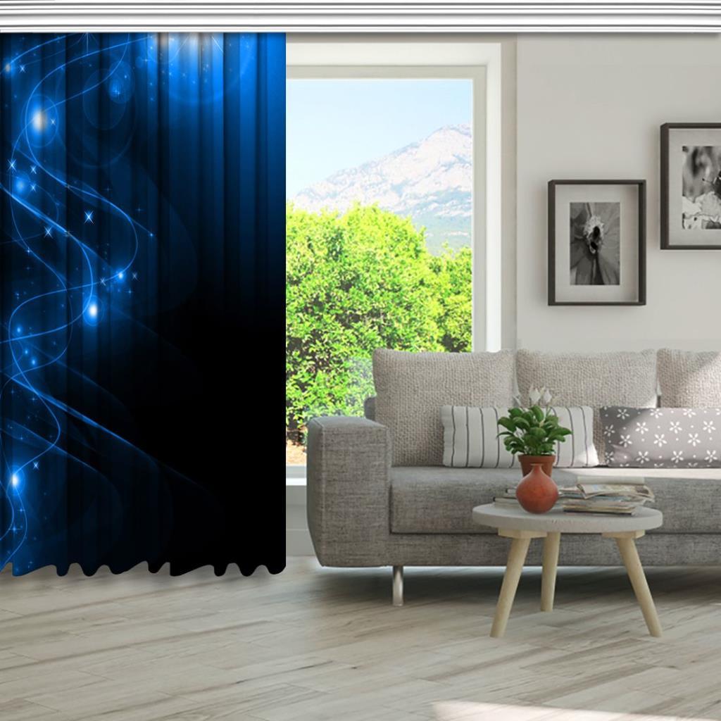 baskılı fon perde nokta çizgi parlama desenli mavi