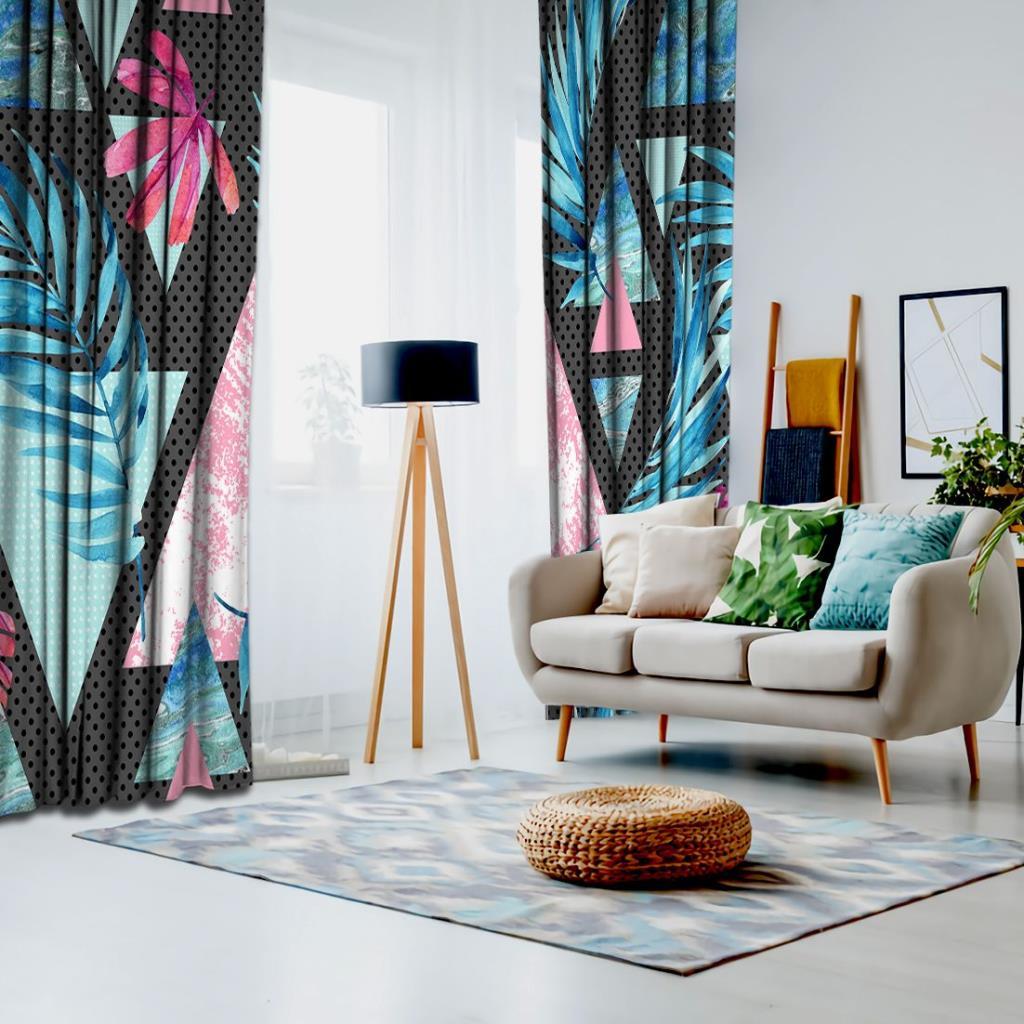 baskılı fon perde nokta palmiye geometrik desenli pembe mavi
