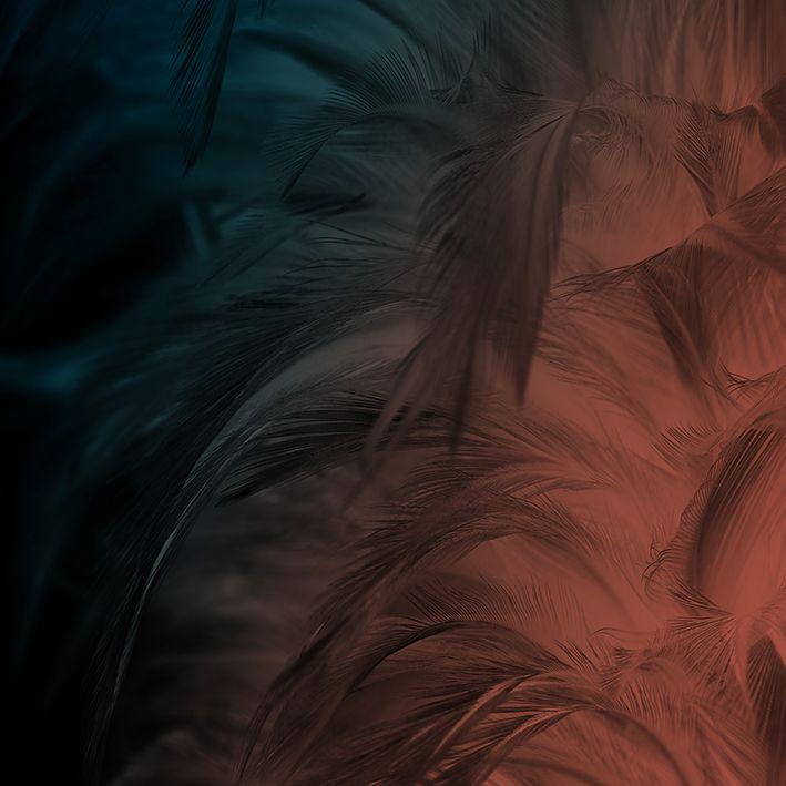 baskılı fon perde oranj mavi siyah vintaç tüy doku desenli