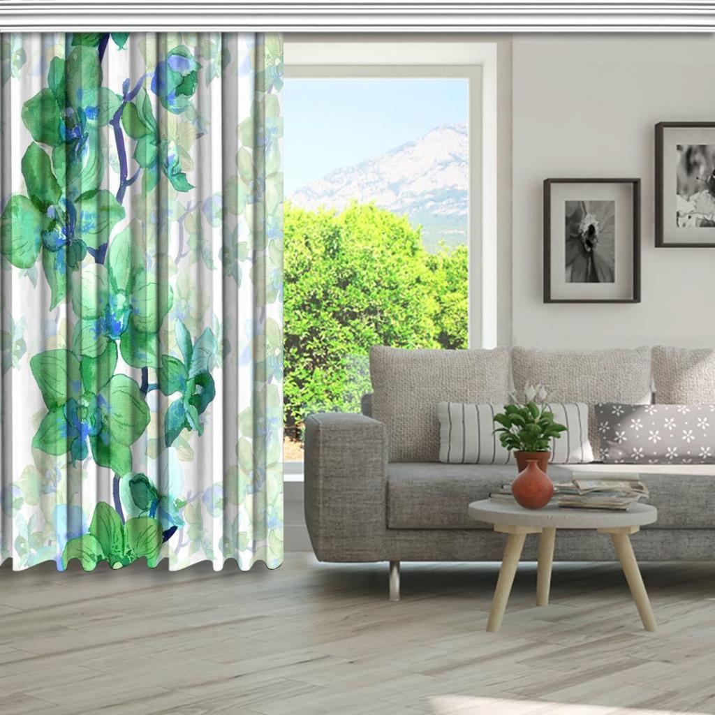 baskılı fon perde orkide silüet zeminli suluboya dallı orkide desenli