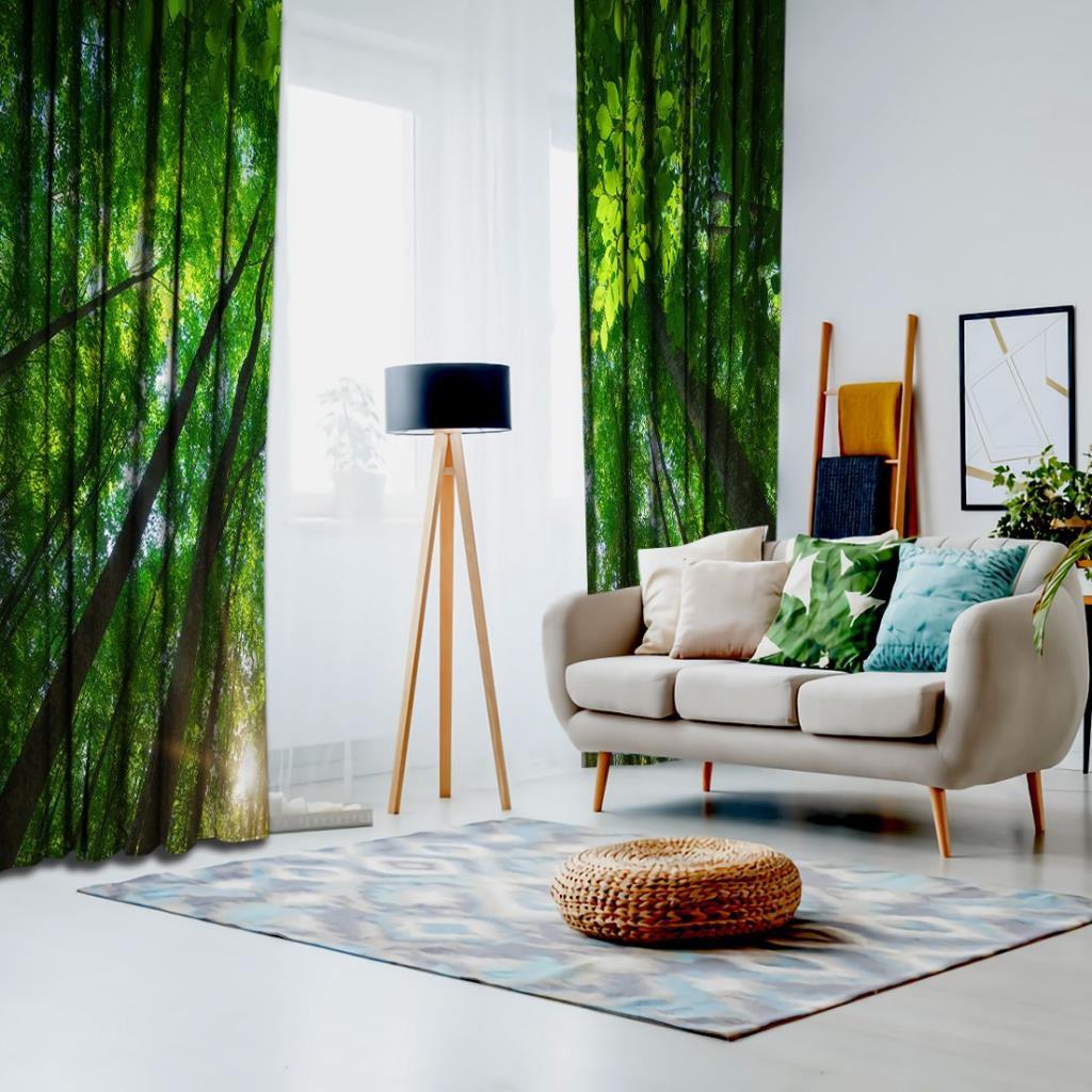 baskılı fon perde orman etkili güneş doğa desenli yeşil