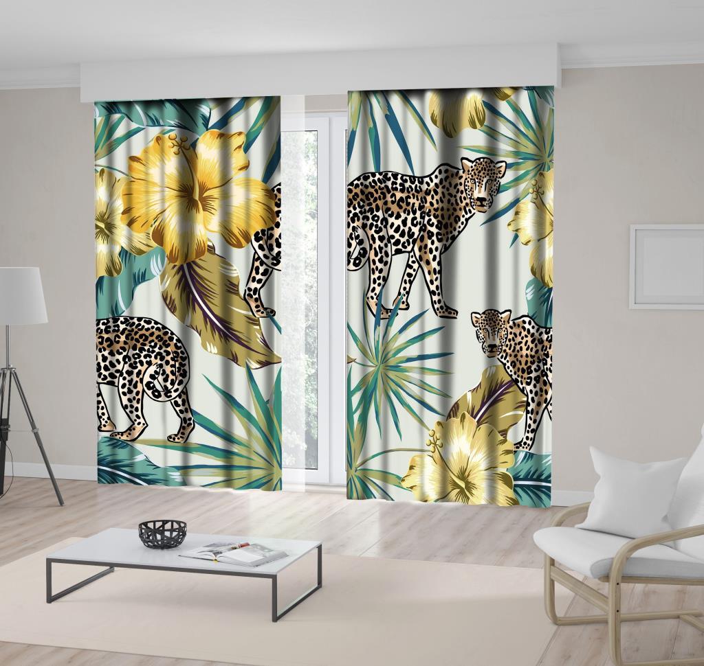 baskılı fon perde palmiye ağaç etkili safari hayvan desenli
