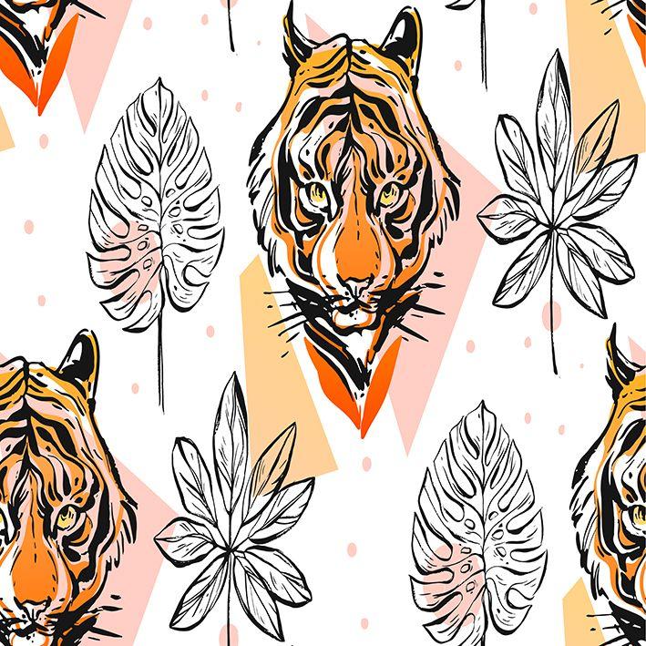 baskılı fon perde palmiye yaprak etkili kaplan yüzü desenli