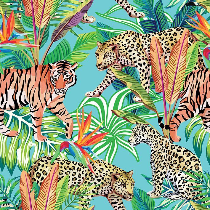 baskılı fon perde palmiye yaprakları etkili leopar ve kaplan desenli