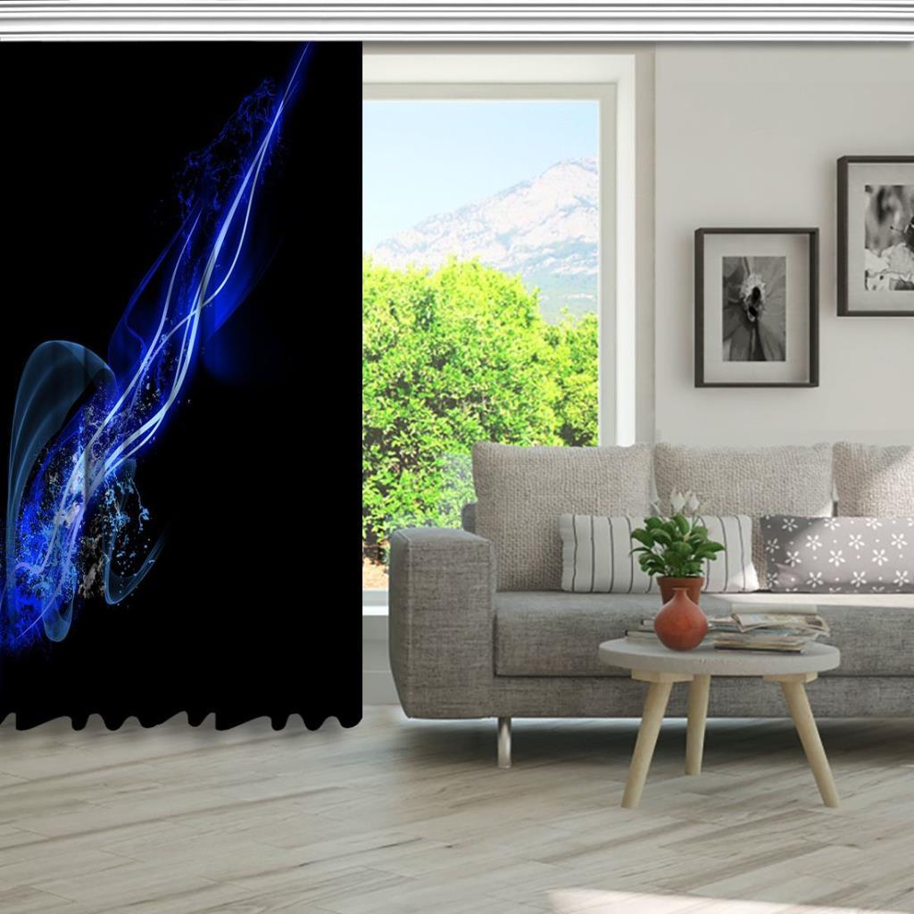 baskılı fon perde parlak çizgi dalga desenli mavi