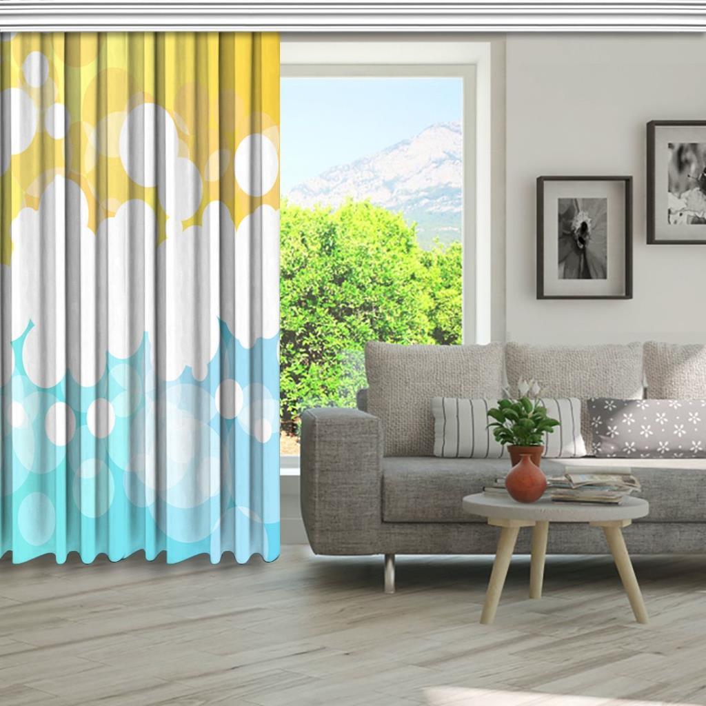 baskılı fon perde parlak sarı ve mavi dalga desenli