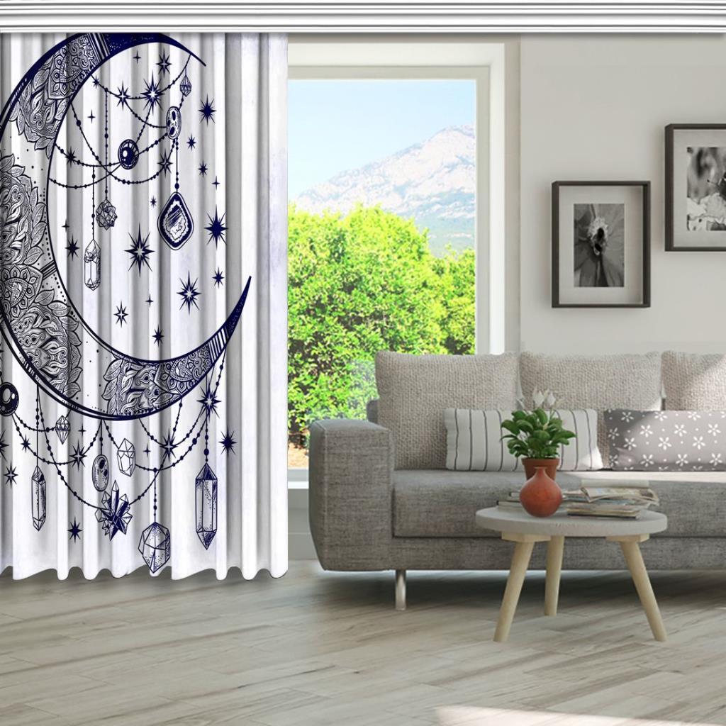 baskılı fon perde parlak taş ay hilal desenli lacivert