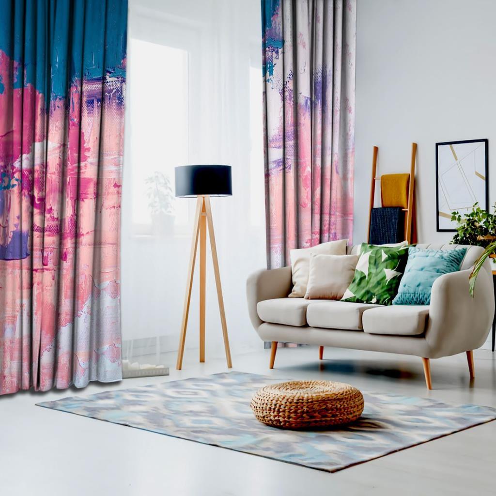 baskılı fon perde parlak yağlı boya etkili boya darbe desenli