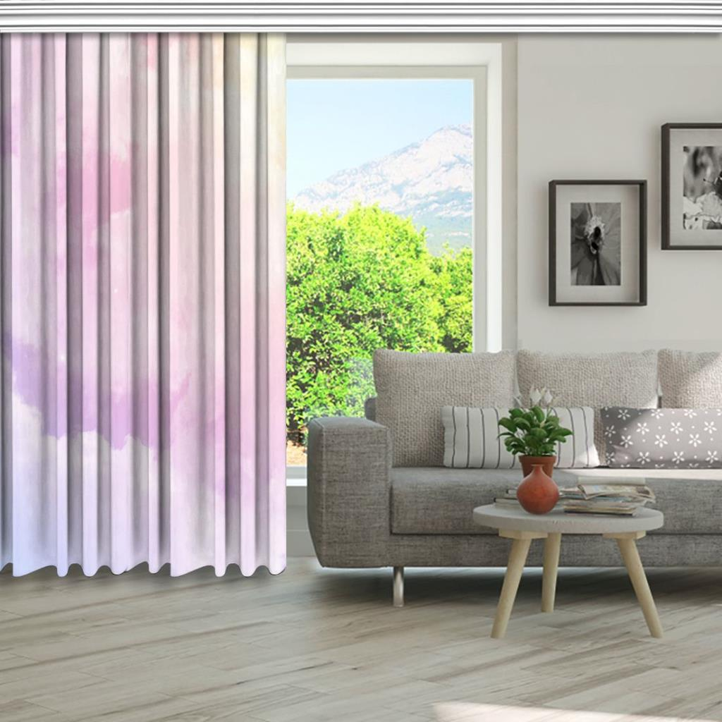 baskılı fon perde pastel renkli güneş ve bulut desenli