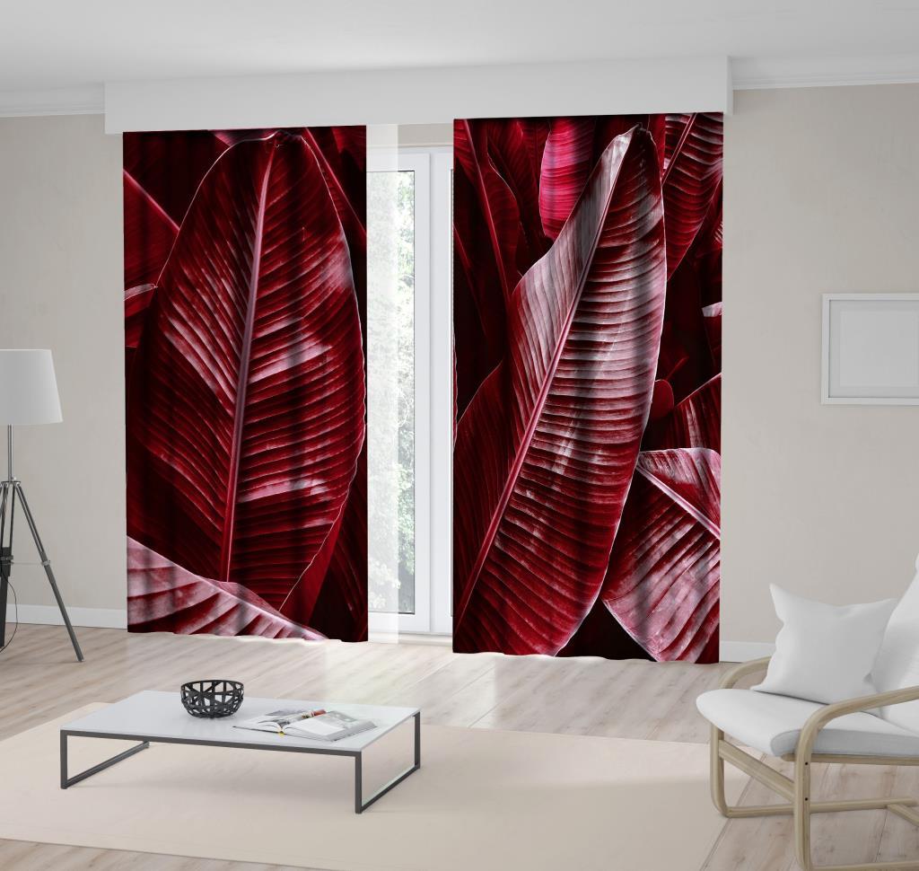 baskılı fon perde pembe bordo renk tropikal yapraklı desenli