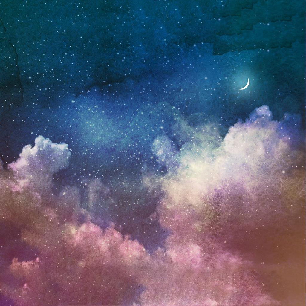 baskılı fon perde pembe bulut mavi gökyüzü ay desenli