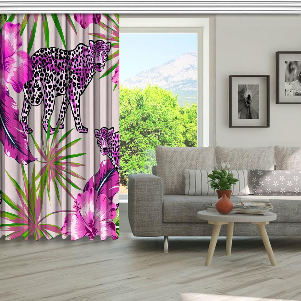 baskılı fon perde pembe çiçek ve yaprak etkili jaguar desenli
