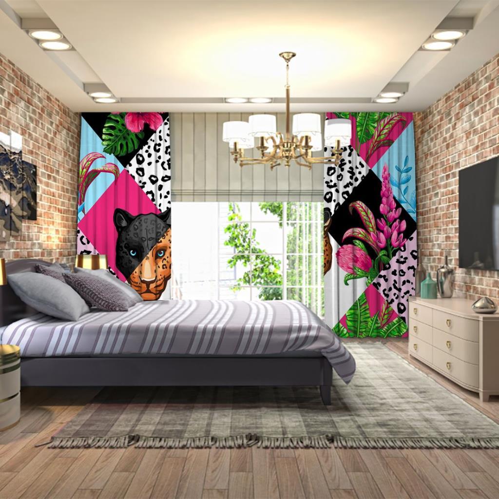 baskılı fon perde pembe rengi tonları ve kaplan yüzü desenli