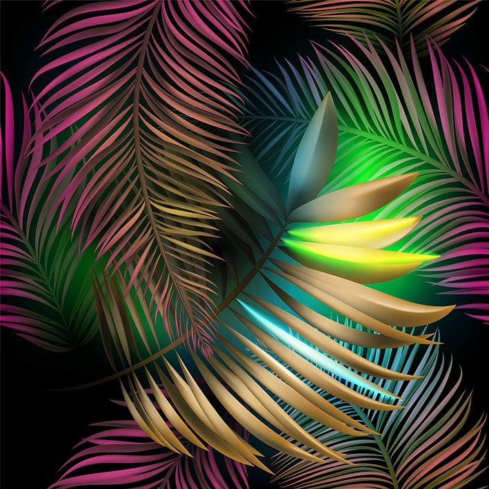 baskılı fon perde pembe sarı yeşil etkili tropik yaprak desenli